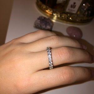 Silver Swarovski Crystal ring band size 7 new